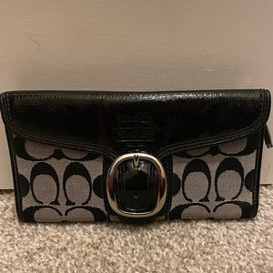 Coach monogram patent leather wallet